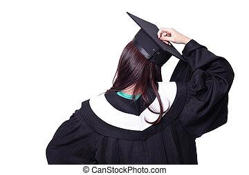 pensando, costas, graduado, estudante, menina, vista