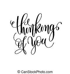 pensando, de, tu, preto branco, mão, lettering, inscrição