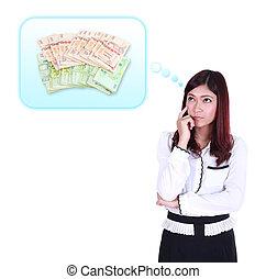 pensando, dinheiro, aproximadamente, negócio mulher