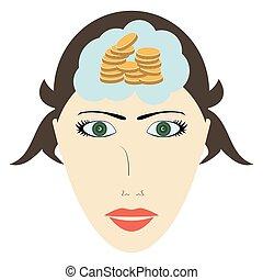 pensando, dinheiro, cabeça, mulher, aproximadamente