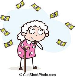 pensando, dinheiro, ilustração, vetorial, vovó, caricatura