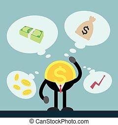 pensando, dinheiro, moeda