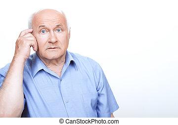 pensando, envolvido, confundido, avô