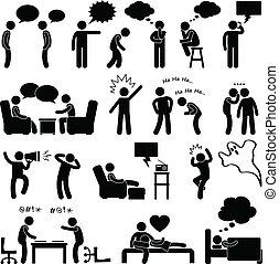 pensando, falando, homem, brincando, pessoas