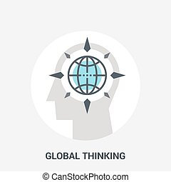pensando, global, conceito, ícone