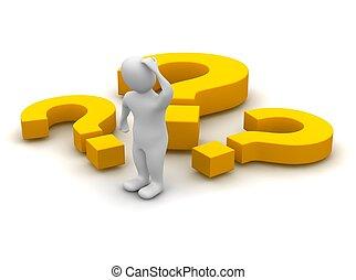 pensando, homem, e, pergunta, marks., 3d, representado,...