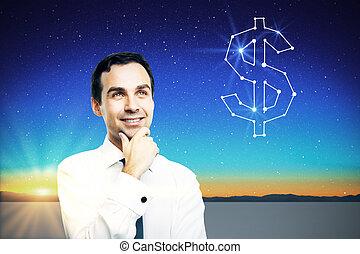 pensando, homem negócios, aproximadamente, crescimento, financeiro