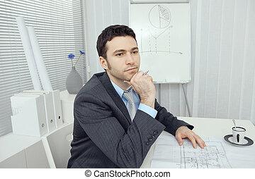 pensando, homem negócios