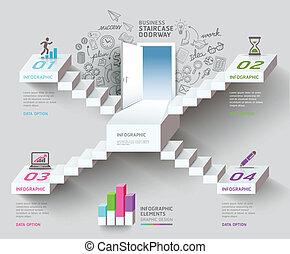 pensando, idea., negócio, escadaria