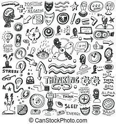 pensando, jogo, -, doodles
