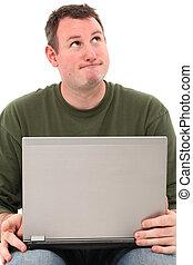 pensando, laptop, homem