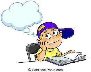 pensando, livro, criança