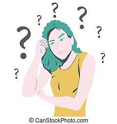 pensando, lotes, mulher, confundido, perguntas