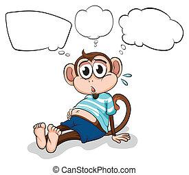pensando, macaco, cansadas