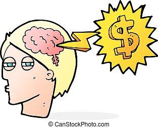pensando, maneiras, fazer, caricatura, dinheiro