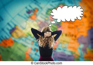 pensando, mapa, mulher, à frente, mundo