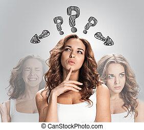 pensando, marca pergunta, fundo, branca, mulheres