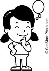 pensando, menina, caricatura