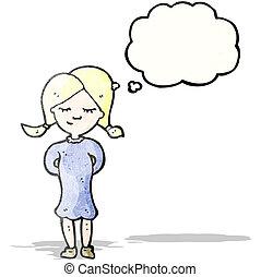 pensando, menina, caricatura, loura