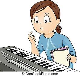 pensando, menina,  piano, criança