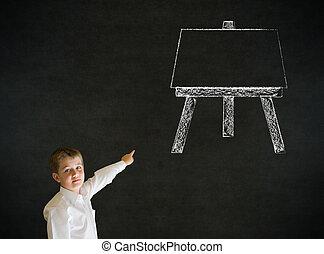 pensando, menino, cavalete, arte, homem