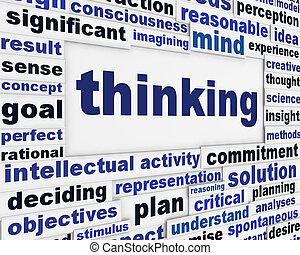 pensando, mensagem, fundo, criativo
