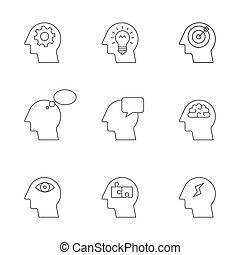 pensando, mente, processo, human