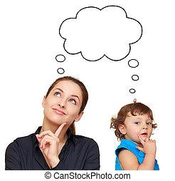 pensando, mulher jovem, e, cute, criança, conceito, com, bolha, acima, isolado, branco, fundo