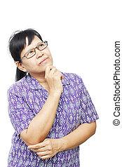 pensando, mulher sênior, asiático, algo