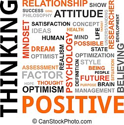 pensando, palavra, -, nuvem, positivo
