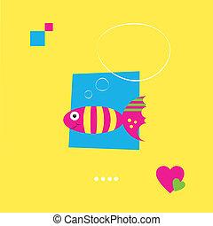 pensando, peixe, cartão cumprimento