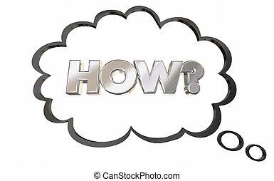 pensando, pergunta, ilustração, pensamento, como, resposta, bolha, 3d