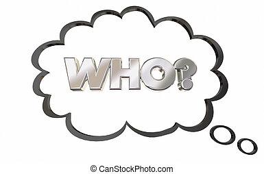 pensando, pergunta, ilustração, pensamento, querer saber, resposta, nuvem, 3d