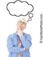 pensando, pessoa, aproximadamente, algo, negócio