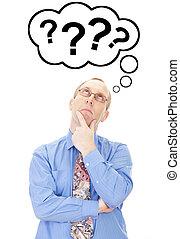 pensando, pessoa, aproximadamente, pergunta, negócio