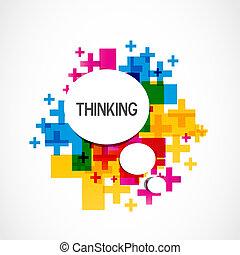 pensando, positivo, coloridos