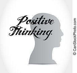 pensando, positivo, conceito, mente, sinal