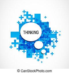 pensando, positivo, nuvem