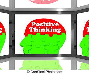 pensando, positivo, tela, tv, mostra, interativo