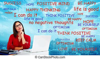 pensando, positivo, woman.