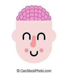 pensando, process., ilustração, cérebro, vetorial, head.