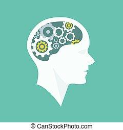 pensando, processo, cabeça, brainstorming