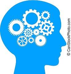pensando, processo, lógico, pictograma
