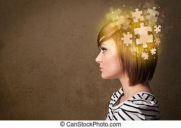 pensando, quebra-cabeça, mente, pessoa jovem, glowing