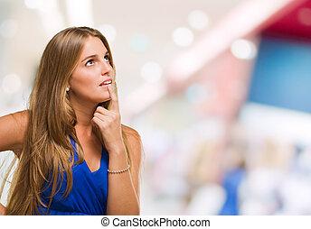 pensando, retrato, mulher, jovem