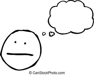 pensando, símbolo, caricatura, rosto