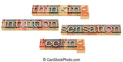 pensando, sentimento, intuição, e, sensação