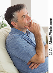 pensando, sofá, assento homem