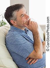 pensando,  sofá, homem, sentando