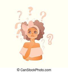 pensando, vectotr, adulto jovem, menina, caricatura